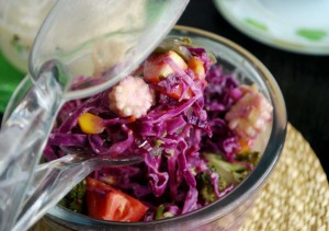 red cabbage and corn salad featured image