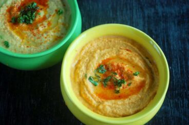 red and yellow bell pepper hummus featured image