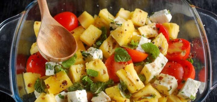 Cheese Cherry Tomatoes Pineapple Salad 30 Day Salads Recipes How To Make Home Made Paneer Flavoured Cottage Recipe